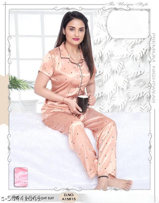 Santu Premium Women's Satin Dot Printed Night Suit Set of Shirt & Pyjama