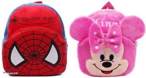 Kidgee pink minnie and red spidy combo pack of school bags