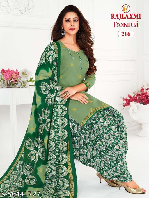 Shree Shan Pure Cotton Un-Stitched Suit (Mint Green)
