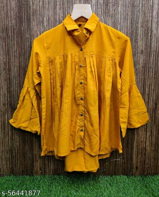 Latest Womens For Partywear Rayon Plain Shirt