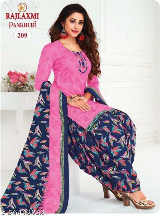 Shree Shan Pure Cotton Un-Stitched Suit (Pink)