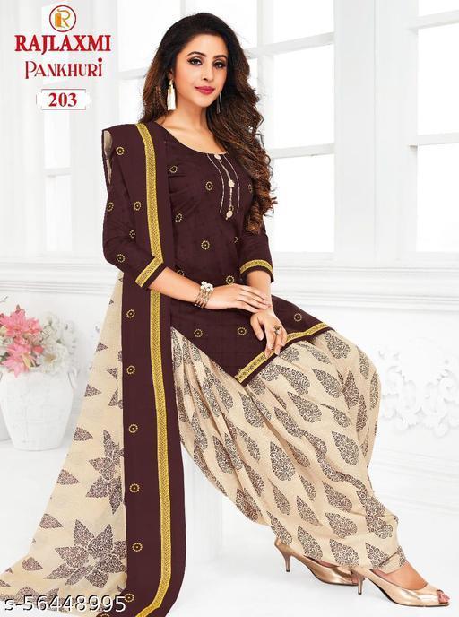 Shree Shan Pure Cotton Un-Stitched Suit (Brown)