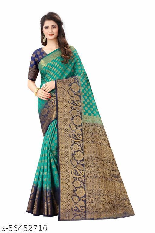J&T Attractive Art Silk Saree For Women Rama Colour