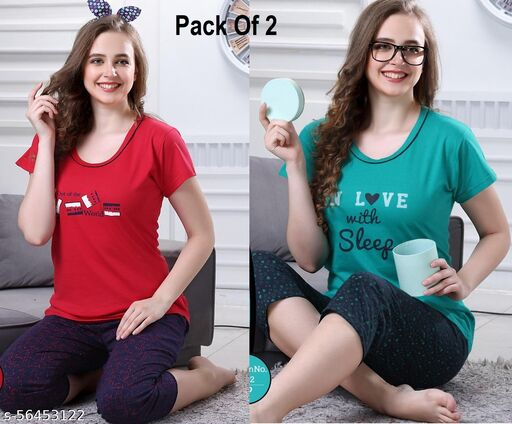 Women Comfortable Feeling Cotton Nightsuits (Pack of 2)