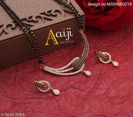 Latest American Diamond Mangalsutra 18 inch with Earrings