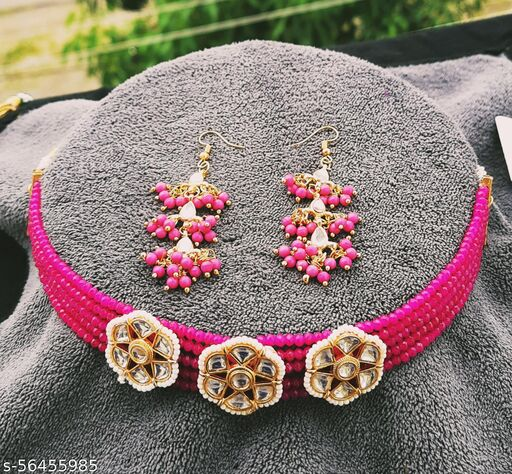 Kundan Crystal Beads Necklace with Earrings