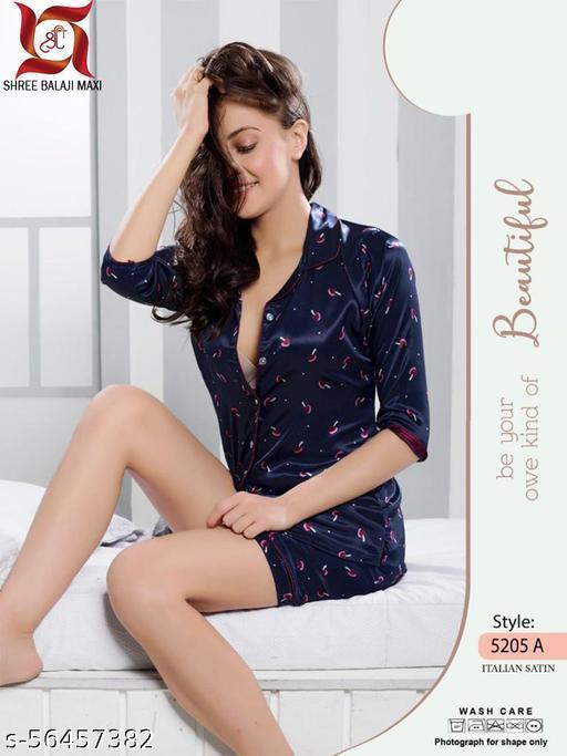 "SHREE BALAJI MAXI Women""s Satin Long Sleeve Night Suit Nightwear"