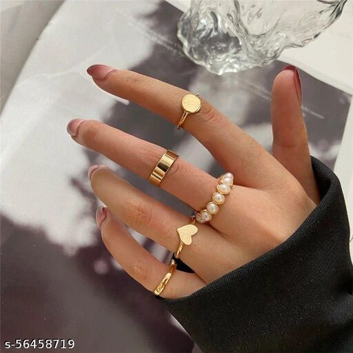 Yu Fashions Golden Pearl Heart Ring Set of 5
