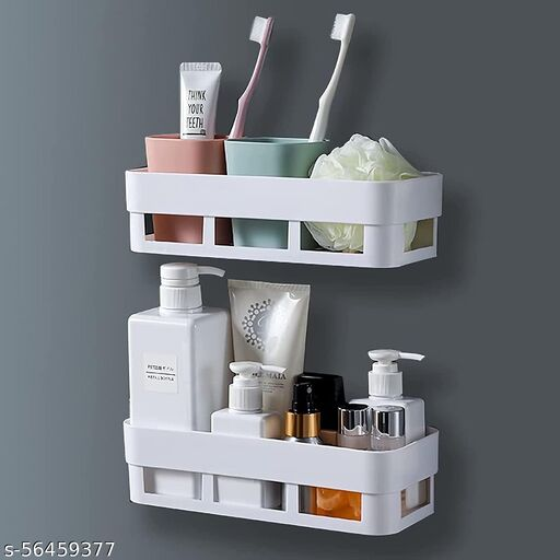MorivaHomes Make in India No Drilling Rectangular Bathroom Organizer. Adhesive Sticker Support to Wall. Use to Bathroom, Kitchen and office. ( 4 Bathroom Shelf )