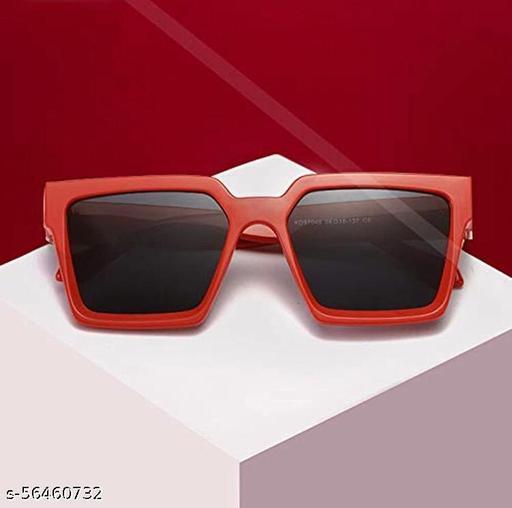 Yu Fashions Red Frame Square Black Lens Sunglasses