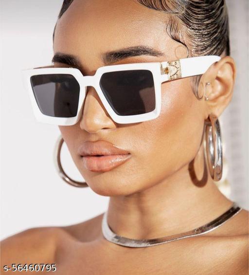 Yu Fashions White Frame Square Black Lens Sunglasses