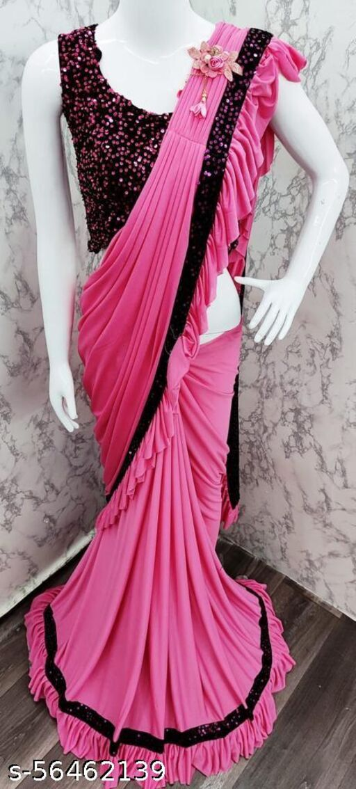 Designer Malai Silk Ruffle Saree with Sequence Work and Patch