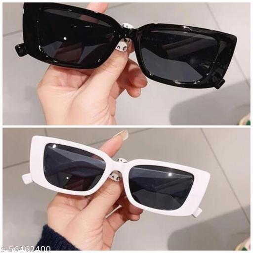UV Protection Cat-eye Sunglasses For Men & Women, Black & White