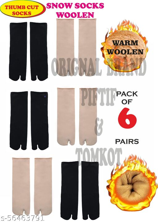 Piftif With Thumb Cut socks for winter woolen socks for women girls Pack of 6