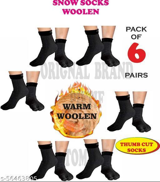 Piftif With Thumb Cut women men unisex Thik woolen socks Pack of 6