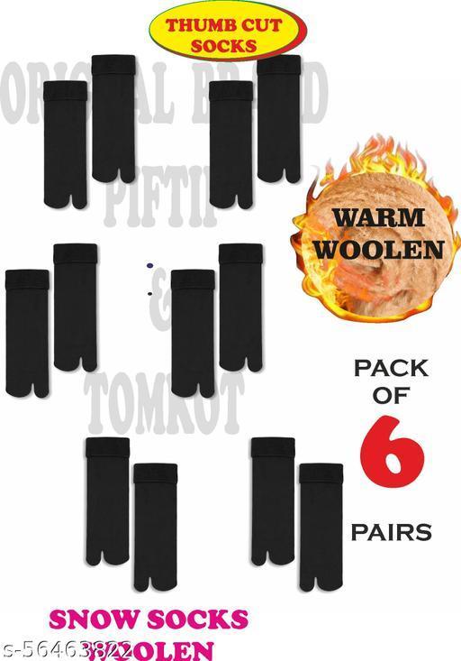 Piftif With Thumb Cut Men's & Women's Nylon & Spandex woolen snow fur Socks Pack of 6