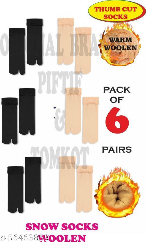 Piftif With Thumb Cut women men unisex woolen socks Pack of 6