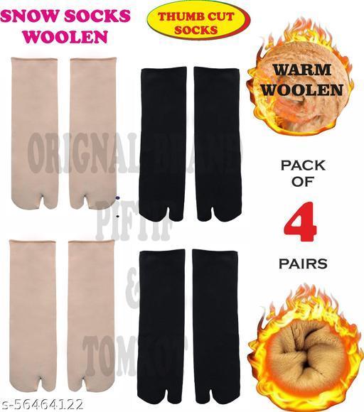 Tomkot With Thumb Cut women men unisex snow socks for winter woolen Pack of 4