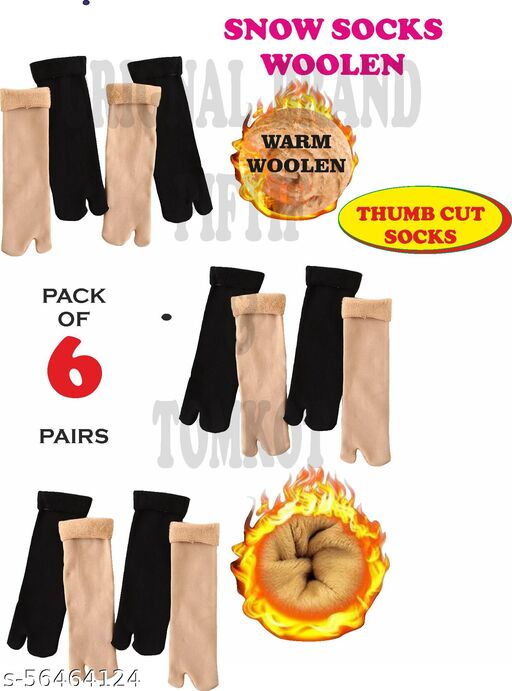 Tomkot With Thumb Cut woolen Socks Winter Warmer Thicken Thermal Wool Snow Socks Soft Velvet for Ladies Girls Women Pack of 6
