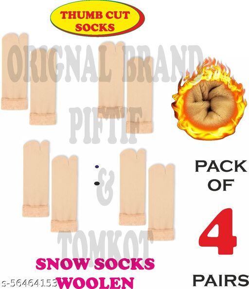 Tomkot With Thumb Cut women's Velvet Winter snow Thermal Pack of 4