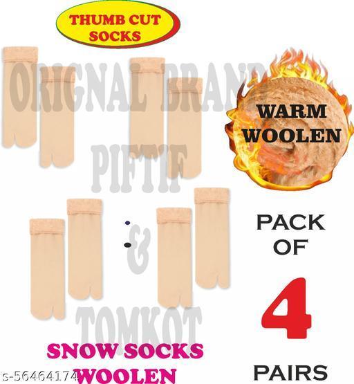 Tomkot With Thumb Cut socks for winter woolen socks for women girls Pack of 4