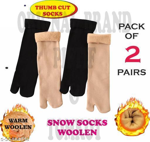 Tomkot With Thumb Cut woolen Socks Winter Warmer Thicken Thermal Wool Snow Socks Soft Velvet for Ladies Girls Women Pack of 2