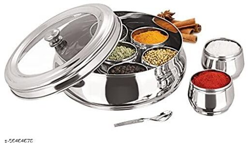 Stainless Steel Belly Shape Masala Spice Racks, (Spice) Box/Dabba/Organiser with single See Through Lid with knob, 7 Containers and 1 Small Spoon (Medium)