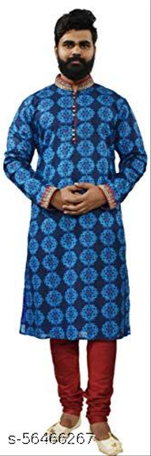 RAJ DESIGN STUDIO Men's Navi Blue Light Blue Print & H/emb with Maroon Churidar Pajama