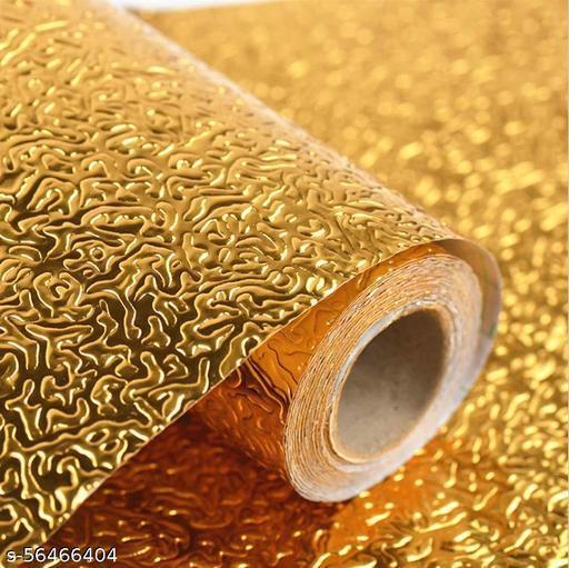 BOZ Golden Kitchen Oil-Proof Waterproof Aluminum Foil High Temperature Wall Stickers Stove Cabinet Film (Golden ) wallpaper