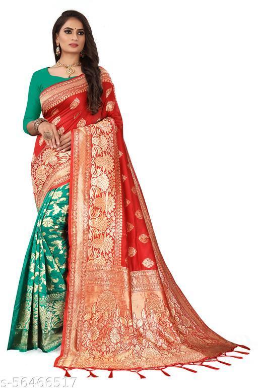 Jivika Fashionable SareesSoft Lichi Silk Half & Half Saree