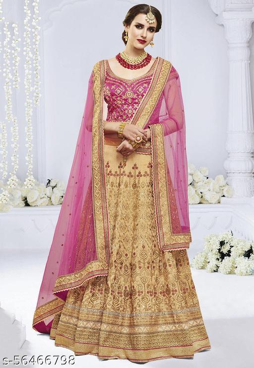 Embroidered Bhagalpuri Silk Lehenga in Light Beige