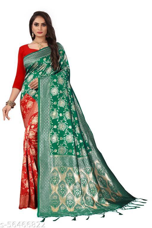 Type :- Soft Lichi Silk Half & Half Saree