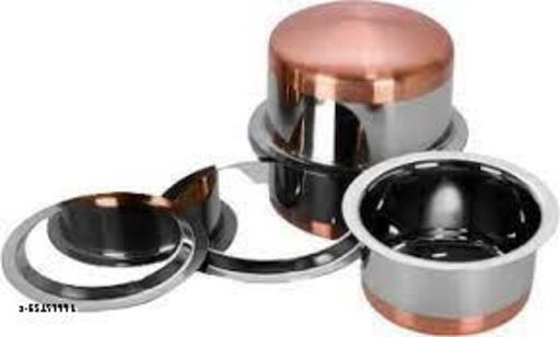 Neerdhar Copper Bottom Tope set of  - 2  Pcs -  500 ML, 1 LTR. WITH LID. Stainless Steel.