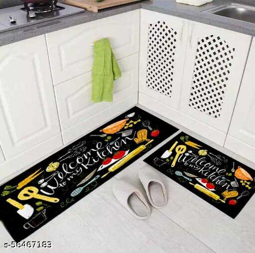 G.S HOME DECOR Kitchen Rubber Abstract Floor Mat & Runner with Anti Skid Backing - Set of 2 (Green, 40 x 120 & 40 x 60 cm)