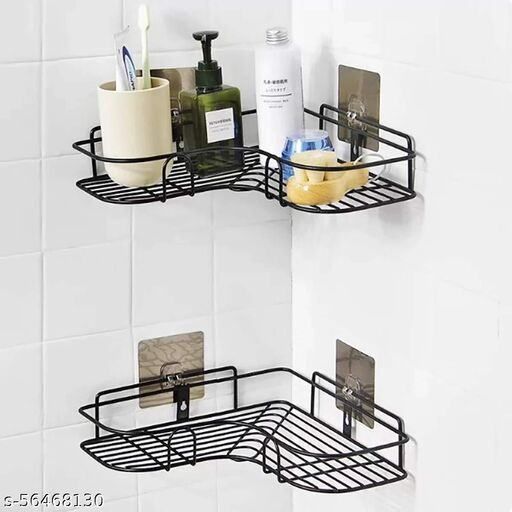 EMPIRE  Stainless Steel Multipurpose Self-Adhesive Kitchen Bathroom Corner Rack Storage Shelves Organizer Hanging Shower Caddy Wall Mount Soap Holder Box Racks and Stands Mounted With Strong Magic Sticker Durable Hook Home Essentials-Metal