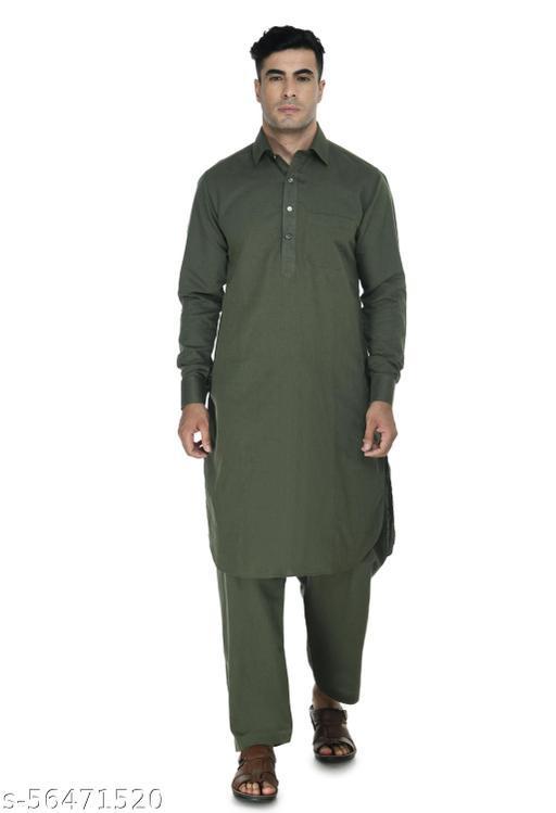 DESIGN TREND Men's Premium Ethinic Cotton Linen blend Pathani kurta and salwar set.
