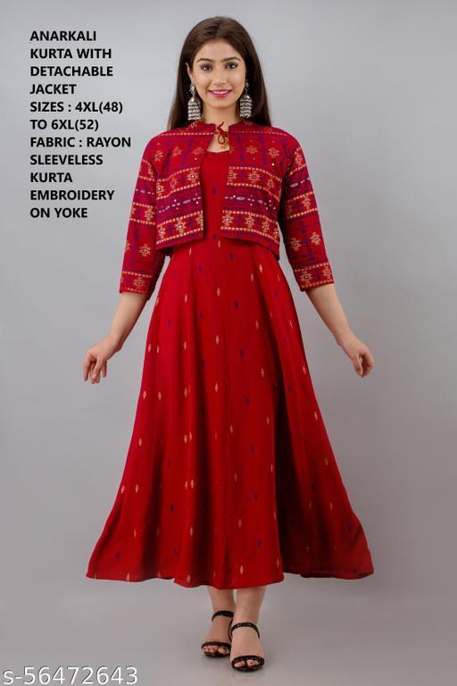 Women Plus Size Red Printed Anarkali Kurta with detachable jacket