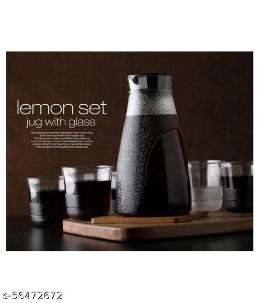 LEMON SET, 1 JUG & 6 GLASS, BEST FOR BEVERAGE SERVE