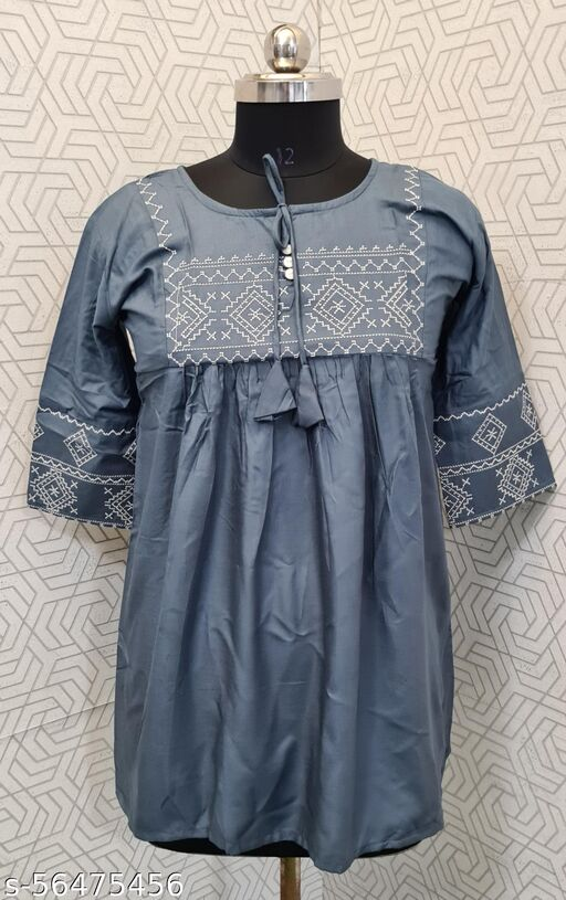 Women's Rayon Embroidered Top Grey-FS