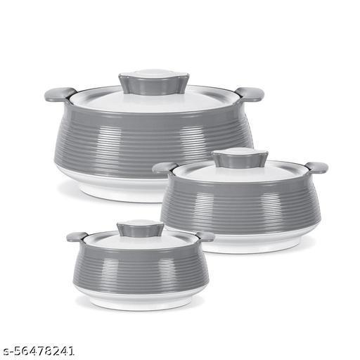 MILTON Venice Casserol Set of 03 (1500 ML,1000 ML,500 ML) White & Grey