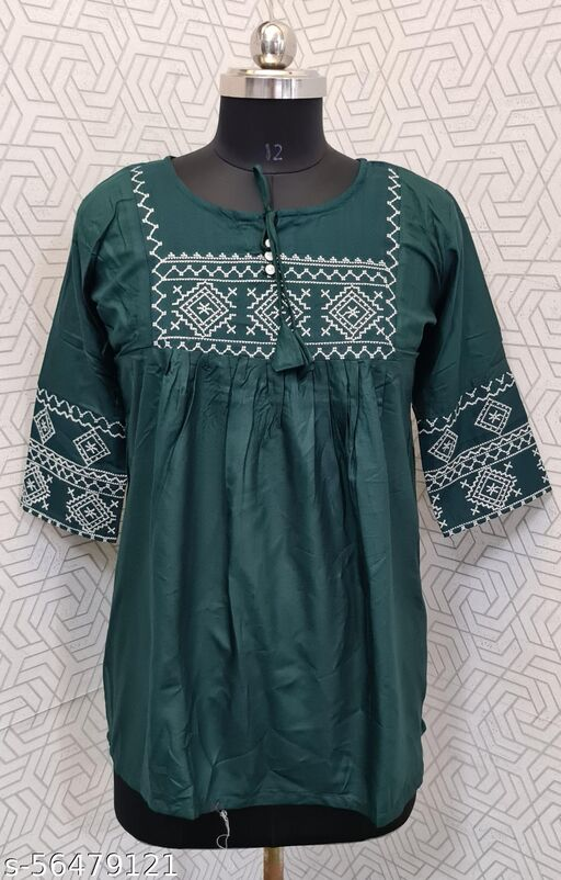 Women's Rayon Embroidered Top Green-FS