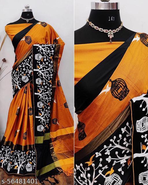 KAVINDI women's cotton silk saree with White Thread embroidered work saree