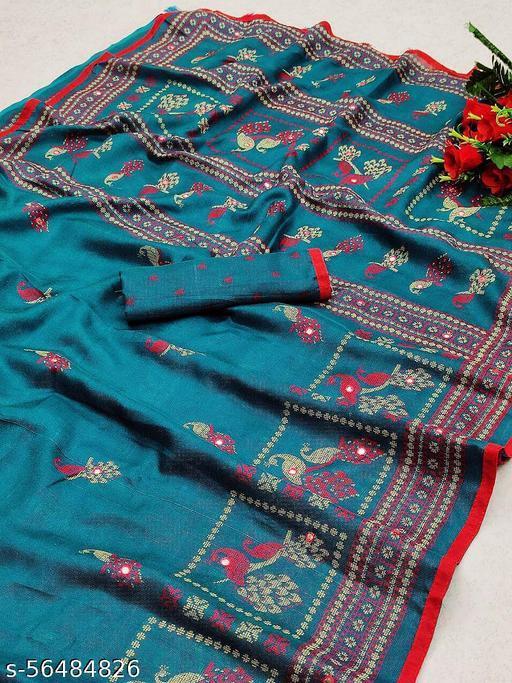 KAVINDI Women's jute silk With HD print and mirror work Saree with blouse