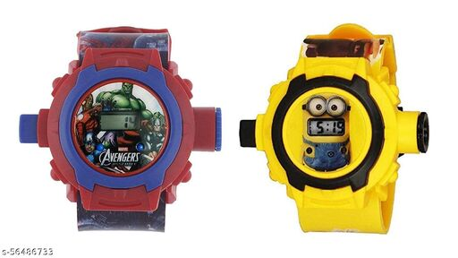 Avengers & Minions 24-Images Digital Display Projector Cartoon Watch for Kids