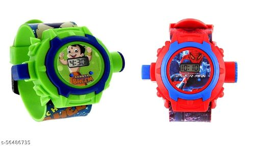 Chota Bheem & SpiderMan 24-Images Digital Display Projector Cartoon Watch for Kids