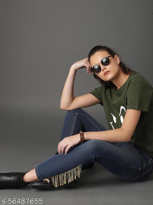 Short Sleeves Cotton Printed Regular Casual Wear Fit Stylish T-Shirt for Women Wink Emoji