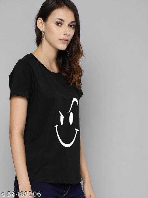 Women Wink Emoji Short Sleeves Cotton Printed Regular Casual Wear Fit Stylish T-Shirt