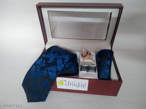 Unique Classy Microfiber  men's Royal blue Necktie