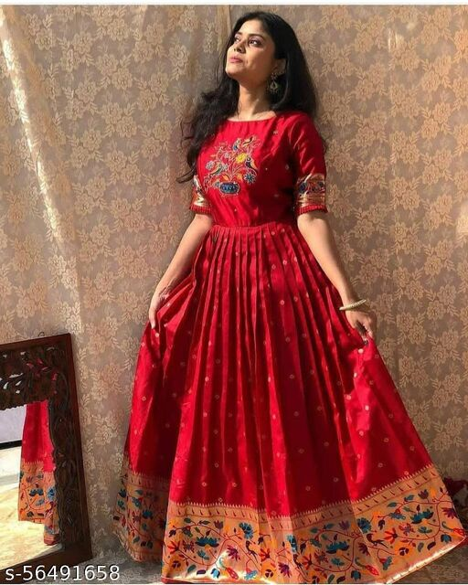Attractive maroon jacquard floor touch Party wear gown