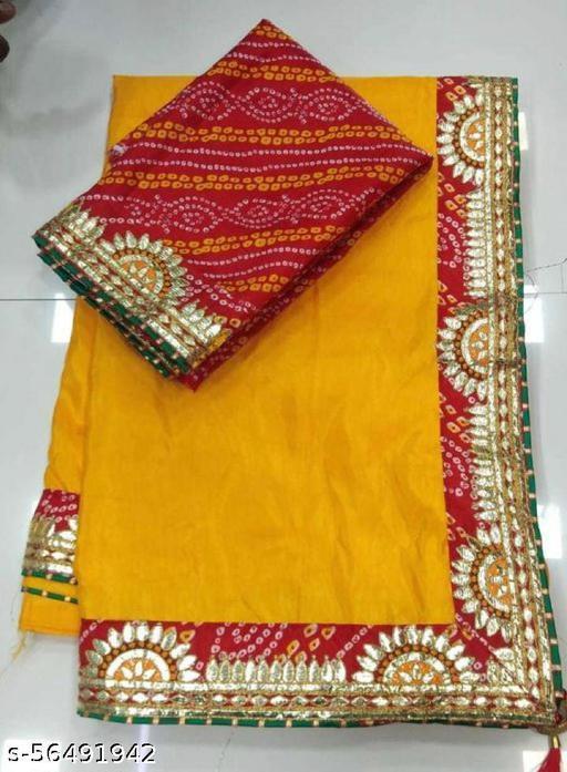 pure dolla silk Heavy designer bandhej border gotta pati work saree